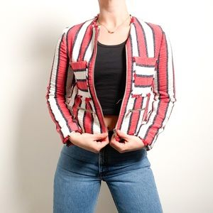 Zara Red and White Linen Bomber Striped Jacket